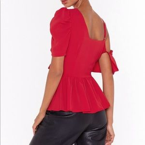 Nasty Gal Tops - Nasty Gal, Red asymmetric blouse